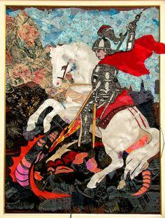 São Jorge Guerreiro Patron Saint Of England, Saint George And The Dragon, All The Pretty Horses, Patron Saints, Graphic Illustration, Illustrations, Faeries, Knight, Digital Art