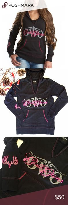 Girls With Guns Buck Hoodie Black With Rhinestone Great lightweight hoodie from Girls With Guns GWG! Pink stitching details all over, GWG logo, and rhinestone emblem on right sleeve! Deep V Cut neckline with hood is perfect for cooler weather. 80% Cotton, 20% Polyester. All GWG items are NWT! Girls With Guns Tops Sweatshirts & Hoodies