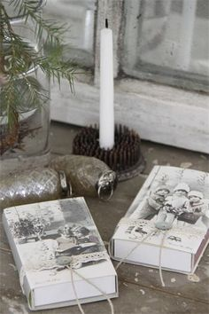 jeanne d'arc living matchboxes and using metal flower frogs to hold candles