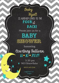 40  Moon and Stars Baby Shower Invitations with envelopes-love you to the moon and back reserved for Christine