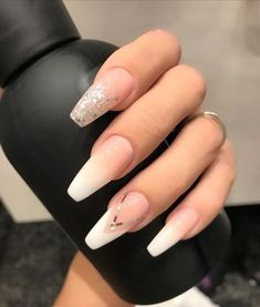 25 + Birthday Nail Art Design That Forms Your Queen Style, fascinating coffin acrylic nails; French ombre nails with gold glitter; Birthday Nail Designs, Birthday Nail Art, Birthday Design, Classy Nails, Trendy Nails, Gold Nails, My Nails, Gold Glitter, Prom Nails
