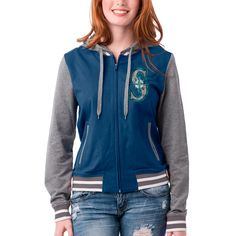 Women's Seattle Mariners 5th & Ocean by New Era Navy French Terry Full-Zip Hoodie