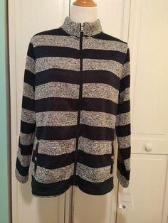 New Croft & Barrow Sweater Navy Blue Stripe Zip Front Size Large  #CroftBarrow #FullZip