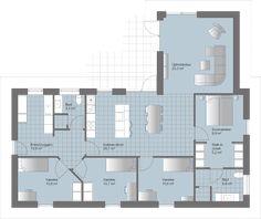 L Løsning med praktisk separat forældre-/børneafdeling Ideal Home, Floor Plans, Flooring, How To Plan, Interior Design, Retro, Minimalism, Ideal House, Design Interiors