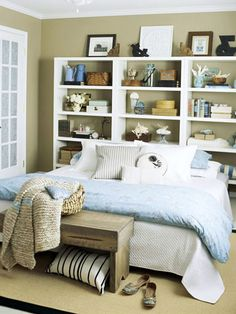 I like the bookcases as a headboard... hhmm...
