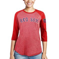 ee4ff67a2 David Ortiz Boston Red Sox Majestic Threads Women's Retirement 3/4-Sleeve  Tri-Blend T-Shirt - Red