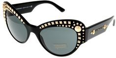 Versace Sunglasses Womens Black Cateye 100% UV Protection VE4269 GB1/87. Frame Color: Black, Gold Studded Front, Sides. Lens Color: Grey, 100% UV Protection. Gender: Womens. Size: Lens/ Bridge/ Temple: 56-21-135. Made in: Italy.