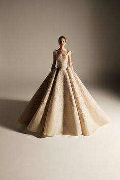 Atelier Krikor Jabotian takes pride in its refined craftsmanship and use of opulent fabrics to create a timeless message of heritage, style, tradition and innovation. Chiffon Wedding Gowns, Tea Length Wedding Dress, Wedding Dress Styles, Dream Wedding Dresses, Bridal Dresses, Next Dresses, Pretty Dresses, Beautiful Dresses, Krikor Jabotian