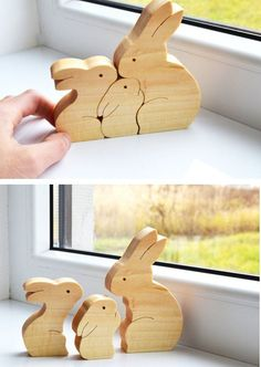 Christmas Kids gifts - Wood rabbit - Wooden Puzzle bunny - easter decorations…