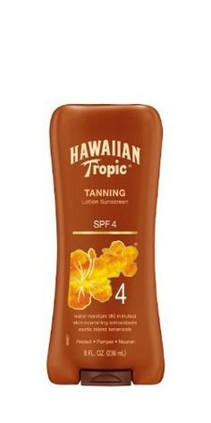 Hawaiian Tropic Sun Tanning Sunscreen Lotion - SPF 4, 8-Fluid Ounce by Hawaiian Tropic. Save 24 Off!. $7.58. Exotic botanicals and extracts. Very water resistant. Aloe vera enriched. Classic coconut fragrance. Skin-nourishing antioxidants. Achieve optimal color for your skin with our indulgent outdoor tanning lotions, including our crème lotions! These products contain formulas enriched with skin-nourishing antioxidants, and moderate levels of spf to keep your skin ultra-moisturized, soft…