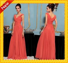 Wholesale Simple Designer V Neck Pleated A-Line Chiffon Long Coral Evening Dresses Prom Gown Party Dress Gowns, $98.56-116.48/Piece | DHgate