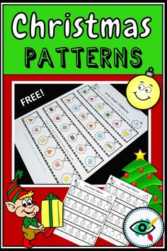 Fun printable for Christmas! Suitable for lower grades in elementary school, Learning about shapes and patterns. First Grade Freebies, First Grade Teachers, Math Patterns, Shape Patterns, Christmas Christmas, Christmas Lights, Homeschooling First Grade, Christmas Activities For Toddlers, Teaching Shapes