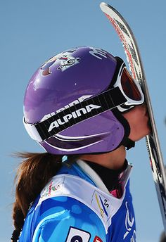 Tina Maze of Slovenia kisses her skis in the finish area after skiing in the Women's Giant Slalom during the Alpine FIS Ski World Championships on February 14, 2013 in Schladming, Austria. Photo by Clive Mason/Getty Images