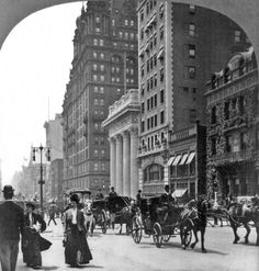 Fifth Ave. and the Waldorf, New York City, 1909. Stereograph.
