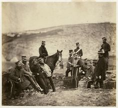 circa 1855: Officers and men of the 8th Hussars, the 'King's Royal Irish' during the Crimean War (1853 - 1856)