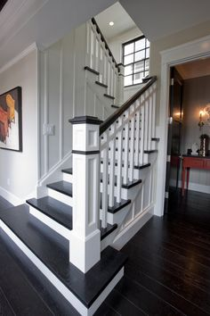 Stairs painted diy (Stairs ideas) Tags: How to Paint Stairs, Stairs painted art, painted stairs ideas, painted stairs ideas staircase makeover Stairs+painted+diy+staircase+makeover Black Stairs, White Staircase, Staircase Railings, Staircase Design, Stairways, Banisters, Staircase Ideas, Railing Ideas, Staircase Pictures