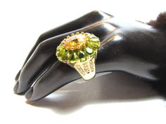 Huge Glamorous Early QVC Sterling Vermeil Peridot & Quartz Statement Ring - Huge Hollywood Glam Sterling Vermeil Citrine Peridot Ring Size 7 by GranvilleGallery on Etsy