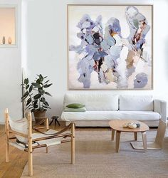 Hand Made Abstract Art, Acrylic Painting Large Canvas Art, Living Room Wall Art. Blue, green, brown, grey, violet.