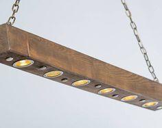 Rustic Industrial Modern hanging reclaimed wood beam light