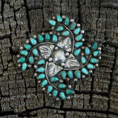 Vintage Zuni Sterling Silver & Turquoise Pin,