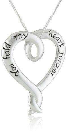 """Sterling Silver """"You Hold My Heart Forever"""" Open Heart Pendant Necklace, 18"""""""