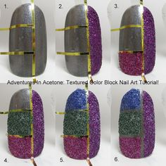 Tutorial Tuesday: Textured Color Block Nail Art! - Adventures In Acetone