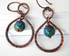 Copper, ceramic earrings by DreamBelle Designs, via Flickr