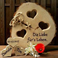 Gastgeschenke - Hochzeit Baumscheibe 3 Herzen Liebe Geschenk Holz - ein Designerstück von Atelier-Maeurer bei DaWanda