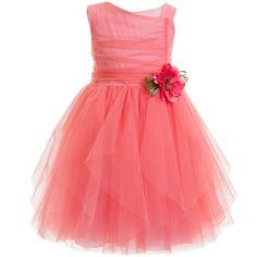 Aletta Coral Pink Tulle Dress at Childrensalon.com