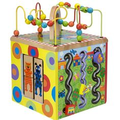 Alex' new Busy Town Wooden Activity Cube offers 5 sides of fun and discovery for toddlers! Manufactured by Alex Toys. Recommended for birth to 12 months, 12 to 24 months, 2 years.