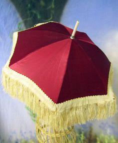 "ANTIQUE Victorian PARASOL umbrella CHILD lady DOLL pram RED SILK carved WOOD 20"" | eBay"