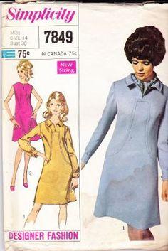 Simplicity 7849 Ladies Dress Vintage Sewing Pattern Designer Fashion #1960s #dress #ladies #simplicity #vintage #patterns #sewing #retro #vintagestitching