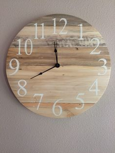 A personal favorite from my Etsy shop https://www.etsy.com/listing/266863150/rustic-light-wood-pallet-clock-16-with