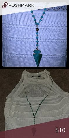 Turquoise arrow necklace Beautiful accessory. Displayed with my crochet dress. 18 inches. Jewelry Necklaces