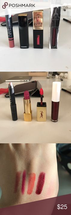 Lip Color Bundle From L-R: Nars Satin Lip Pencil in Rikugen, Chanel Rouge Allure Velvet in La Romanesque, YSL Glossy Lip Stain in 12, and OCC Lip Tar in Black Metal Dahlia (NWT, swatch taken from older tube) Retail Value: $116 CHANEL Makeup Lipstick