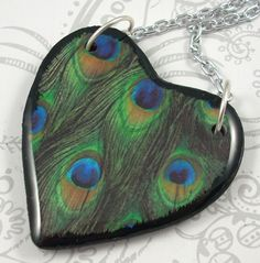 Peacock Heart Pendant Necklace