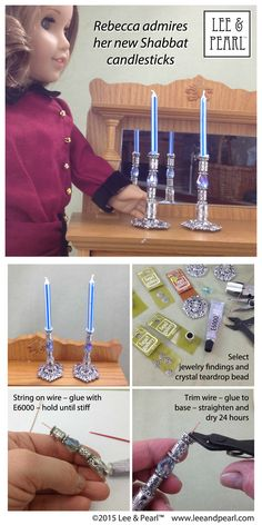 """Make these beautiful """"silver"""" candlesticks for American Girl® doll Rebecca Rubin® using jewelry findings, wire and E6000 glue"""