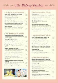 What To Do When Your Wedding Checklist  Wedding Checklist