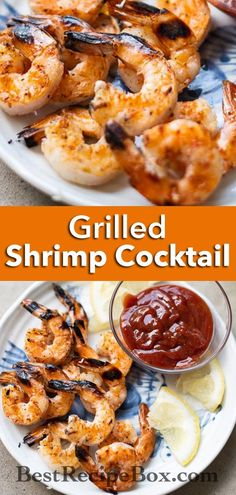 Our Grilled Shrimp Cocktail is very easy to make at home! Watch Summer sports games alongside this amazing Grilled Shrimp Cocktail. Easy Bbq Recipes, Tailgating Recipes, Grilling Recipes, Fish Recipes, Seafood Recipes, Summer Recipes, Best Shrimp Cocktail Recipe, Homemade Cocktail Sauce, Shrimp Recipes For Dinner