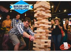 Giant Tumbling Towers Game Plays up to +5 FEET. Customize the blocks with any LOGOS or COLORS for your event or party with your friends. Free Fedex Shipping Daily!   #GiantJenga #TumblingTowers #Jenga