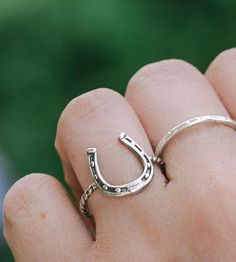 Carefully detailed in sterling silver, this horseshoe ring is sure to bring good luck. Horseshoe and band are solid sterling silver.