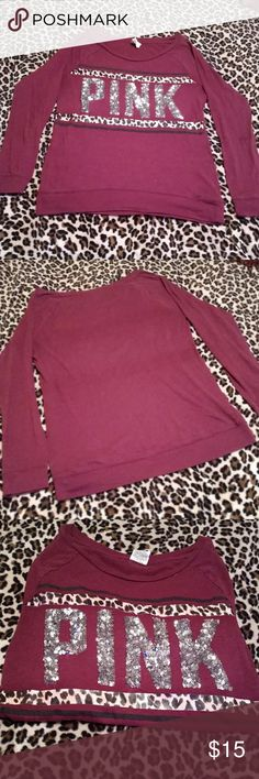 Pink VS Maroon Cheetah Bling Shirt In Great Condition,No Flaws,No Fading Size XS Can fit up to a S-M PINK Victoria's Secret Tops Tees - Long Sleeve