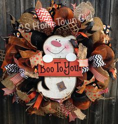 BOO to You Halloween Burlap Wreath by CSHomeTownGirl on Etsy, $125.00
