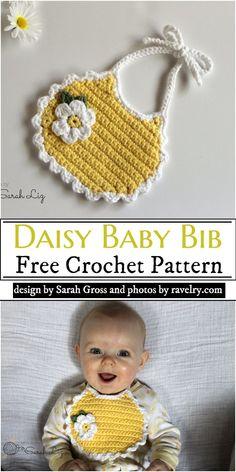 Crochet Baby Bibs, Crochet Baby Dress Pattern, Newborn Crochet Patterns, Crochet Baby Sandals, Bib Pattern, Baby Clothes Patterns, Crochet For Boys, Cute Crochet, Crochet Doll Clothes