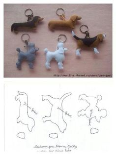 lovely felt dog patterns, for key ring or i can image the poodle hanging from a Paris bag as a charm, so cute 20 moldes que vc precisa ter Free sewing pattern for doggie keychains Fifi the French Poodle - made of felt and pom poms Hay q probaaaar! Dog Crafts, Felt Crafts, Diy And Crafts, Easy Crafts, Sewing Toys, Sewing Crafts, Sewing Projects, Free Sewing, Felt Dogs