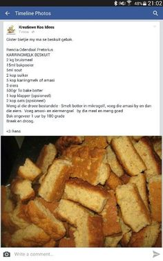 x brood resep Buttermilk Rusks, Rusk Recipe, Baking Recipes, Dessert Recipes, Desserts, Kos, Good Food, Yummy Food, South African Recipes