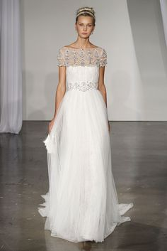 Beautiful: Marchesa used vintage beads to add elegant color to this gorgeous gown.