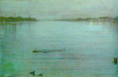 whistler painter - Google Search James Abbot McNeill Whistler 1834-1903 Nocturne in blauw en zilver: de lichten van Cremorne (gezicht op de Thames)