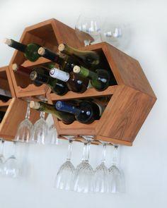 Wood Wine Rack Wine Storage Modern Wine Rack by HaaseHandcraft