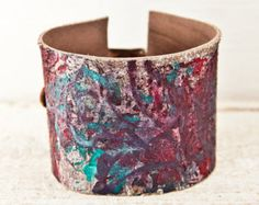 2017 Sale Today! Prices are reduced 25% - 75% Storewide! Here you will find Leather cuffs that are like ART for your wrist, Bohemian, retro fashion, chic jewelry, wristband bracelets for Women. Cuff Details: This buckle cuff bracelet is handmade and one of a kind. The strip of leather that runs through the metal buckle has eight holes punched through it that allows for eight different size settings. - This cuff will fit a Womens Small to Large wrist sizes. - This cuff will fit wrists from 5…